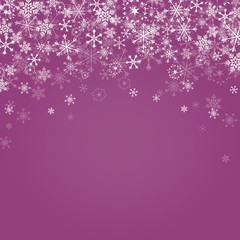 Falling snowflakes on purple background