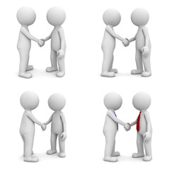 Collection of 3d people handshake isolated on white background
