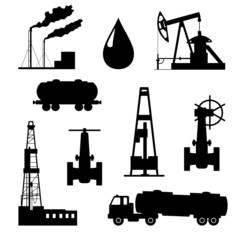 Oil and petroleum icon set.