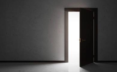 Empty Room Interior with Opened Wooden Door
