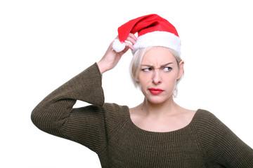 weihnachtsfrau nachdenklich