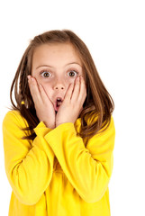 Cute young girl with fun startled face expression