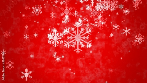 Snowflakes falling on  red background