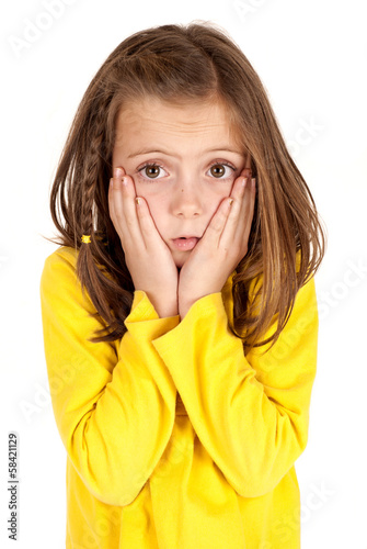 young girl with confused facial expression