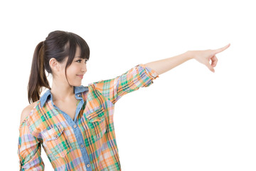 Young asian woman pointing with finger