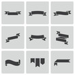 Vector black ribbon icons set