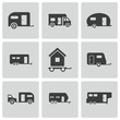 Vector black trailer icons set - 58421761
