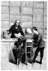 Buying Books - A la Bibliotheque - 19th century