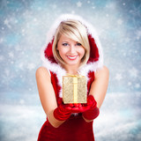 Fototapety Weihnachtsfrau mit Geschenk