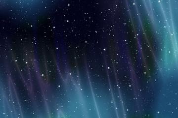 Sternenhimmel mit Aurora Borealis - Illustration