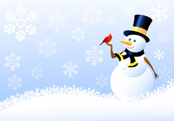 Snowman,Christmas Birds with Snow flacks