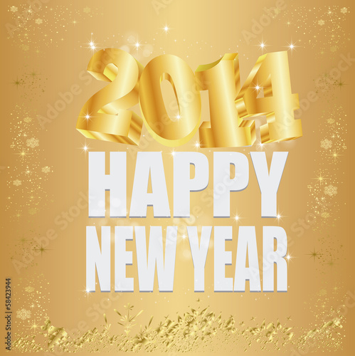 New Year  2014  gold background