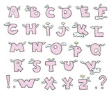Winged alphabet. Cute flying letters. Vector EPS 10.