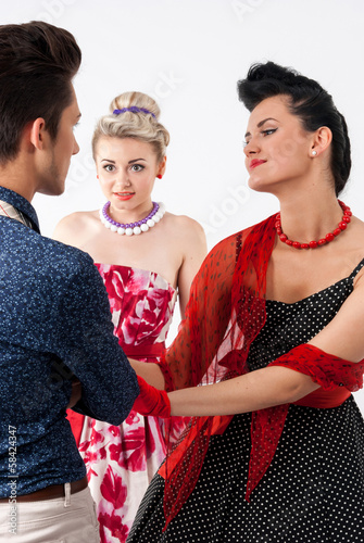 Girls in vintage dress seducing gay in presence aggravated girl