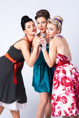 Girls in a vintage dress with microphone