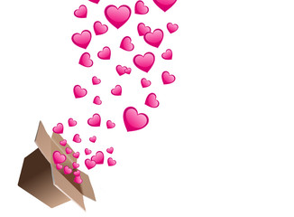 Floating Hearts with a Card Board Box