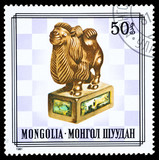 Mongolia stamp, bishop chess piece