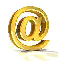 3d golden e-mail symbol