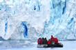 canvas print picture - Zodiac Exkursion to Antarctic Glacier Scenery