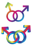 Male Gay Gender Symbols Intertwined Vector Illustration poster
