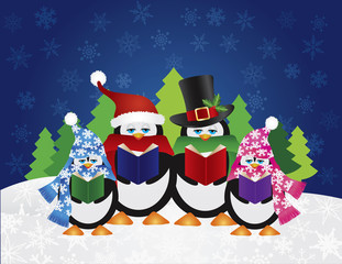 Penguins Carolers with Night Winter Scene Vector Illustration