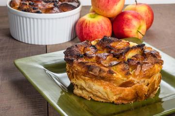 Apple bread pudding with raisins