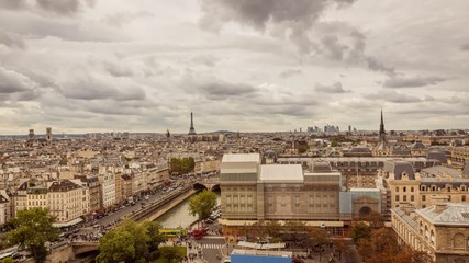 Paris Panorama with Eiffel Tower Timelapse in Full HD 1080p