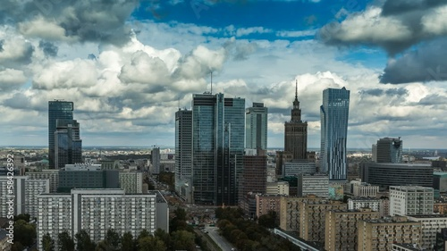 Warsaw Skyline City Timelapse with cloud Dynamic,Full HD 1080p