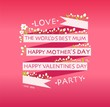 happy valentines day, mother's day cards with ornaments, ribbon