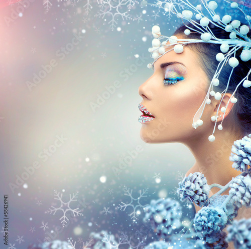 canvas print picture Winter Beauty Woman. Christmas Girl Makeup