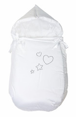 Infant warm sleeping bag isolated over white.With path.