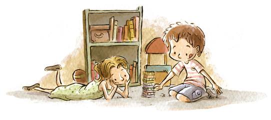 niños jugando en la habitación