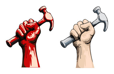 Fist holding a hammer