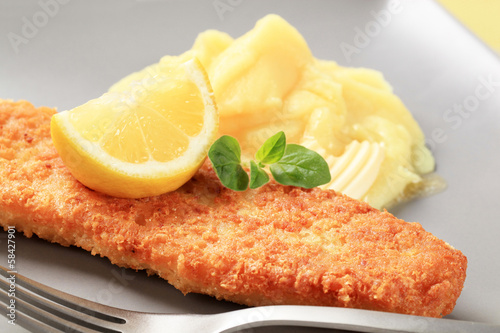 Fried fish with mashed potato