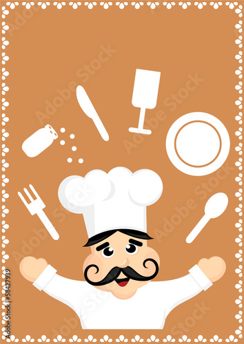 cartoon chef with dishes