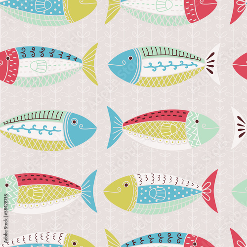 Fishes seamless pattern