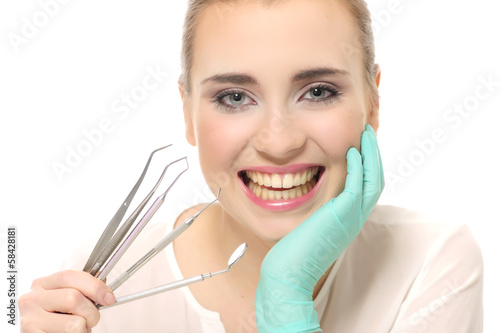 poster of attractive, dentist, esthetic, face, medicine, tooth, young