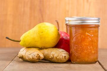 Pear ginger jam in mason jars