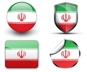 Iran flag button sticker and badge