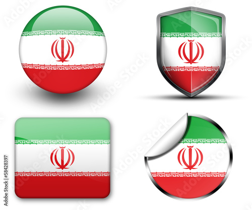 Iran flag button sticker and badge