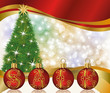Christmas sale banner with red balls, vector illustration
