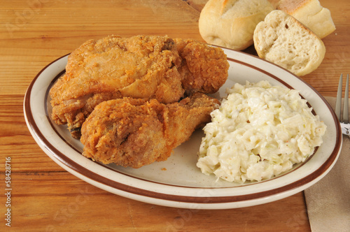 Fried chicken with coleslaw
