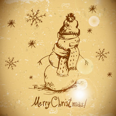 Hand-drawn vintage greeting card with snowman