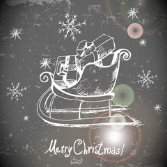 Vintage greeting card with Christmas sleigh