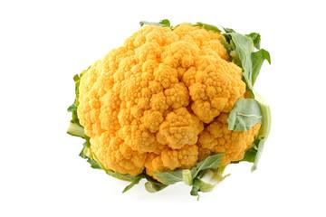 Cavolo Broccolo giallo isolato su sfondo bianco