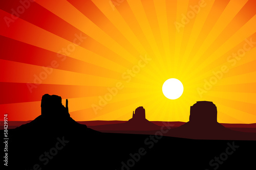 Monument Valley Arizona at Sunset, EPS8 Vector