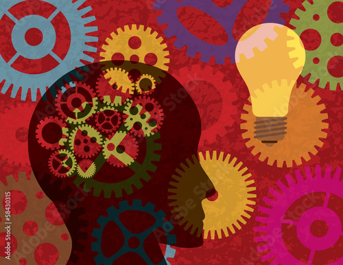 Human Head Silhouette with Gears Background Illustration