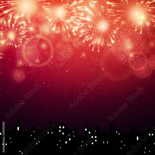 Vector Illustration of Fireworks