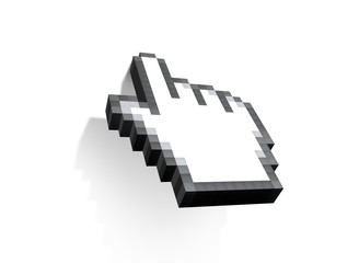 Hand cursor computer mouse on white background.