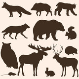 vector set of forest animals silhouettes